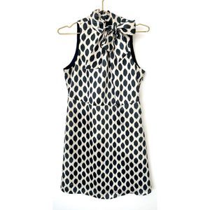 Love 21 Blue White Ikat Print High Neck  Bow Dress